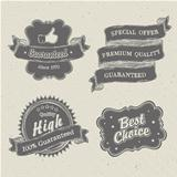 Vintage hand-drawn labels collection on textured paper.