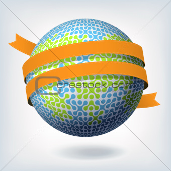 Abstract globe symbol with orange ribbon. Vector illustration