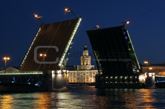 Night view of Palace Bridge. St Petersburg