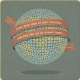 Retro globe symbol with ribbon and sample text. Vector, EPS10