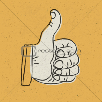 Retro styled thumb up symbol on yellow textured background.