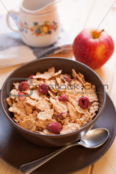 Breakfast cereals and apple