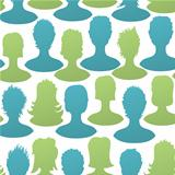 Social silhouettes seamless pattern, vector, EPS8