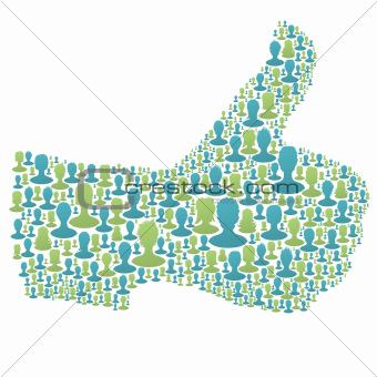 Thumb up symbol. composed from many people silhouettes.