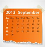 2013 calendar september colorful torn paper