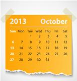 2013 calendar october colorful torn paper