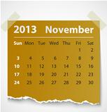 2013 calendar november colorful torn paper