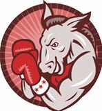 Democrat Donkey Mascot Boxer Boxing Retro