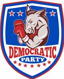Democrat Donkey Mascot Boxer Shield