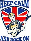 Keep Calm Rock On British Flag Queen Granny Guitar