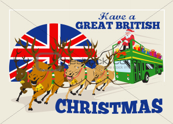Great British Christmas Santa Reindeer Doube Decker Bus