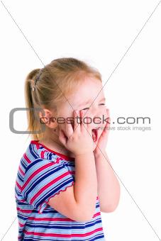 little blonde girl screaming