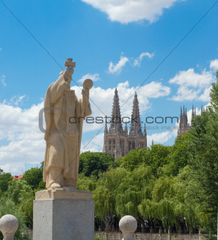 Statue of Jeronimo de Perigord, Burgos. Spain