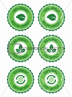 Green 100% organic natural eco product retro labels
