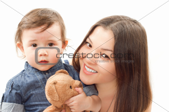 Happy mother and baby girl with toy Teddy bear