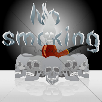 Skull and pipe smoking