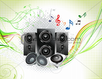 abstract multiple music instruments background
