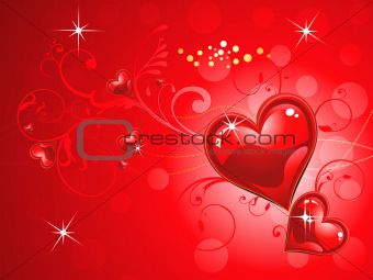 abstract shiny red heart wallpaper