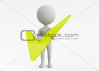 3d humanoid character hold a green checkmark