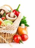 fresh vegetable in basket with green leaf