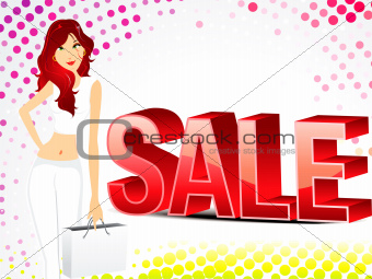 abstract sale background with girl