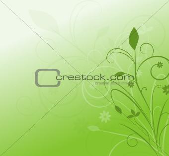 Greeting Card with Green Swirls