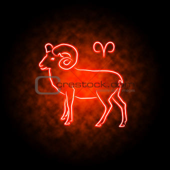 Aries zodiac sign glowing in the darkness.