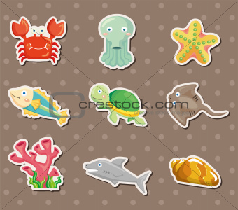 cartoon Aquarium animal stickers
