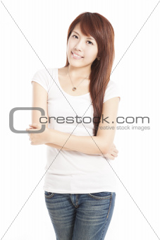 smiling asian young woman isolated on white