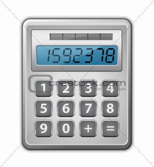 Metallic office calculator. Vector illustration