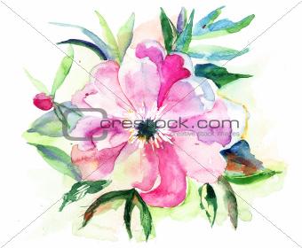 Stylized Pink flower, watercolor illustration