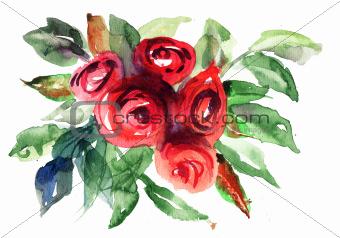 Beautiful Roses flowers, Watercolor painting