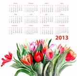 Template for calendar 2013 with Tulips flowers 