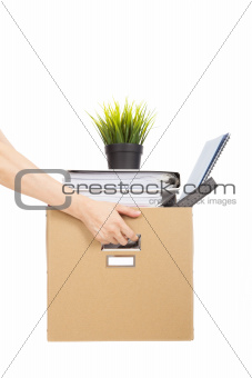 lose job concept.hand holding the box of laid off employee