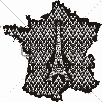 Contour of France with Eiffel Tower