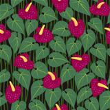 seamless red anturium flower pattern background