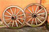old wooden wagon wheels