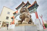 Chinese Foo Dogs Pair at Portland Oregon Chinatown Gate