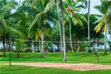 Tropical vacation resort with volleyball court