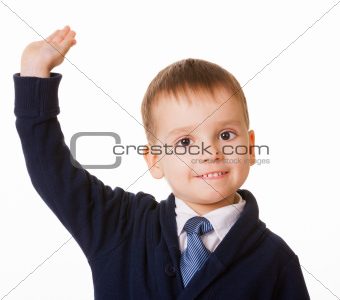 Small schoolboy raises his hand for answer