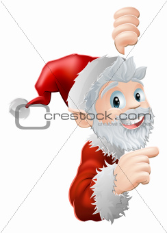 Santa peeking and pointing
