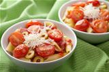pasta with tomatoes and salami