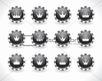 Buttons for web with crowns.