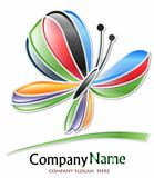 Multicolored butterfly company logo