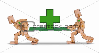 Box men carrying a stretcher with first aid cross