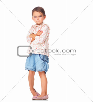 Sad little girl isolated on white background