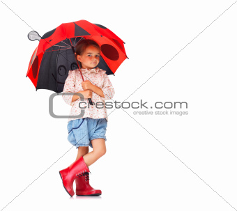 Sweet little girl with colorful umbrella on white