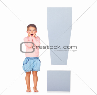Surprised little girl with exclamation marks over white