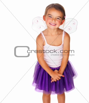 Beautiful little girl in fairy costume on white