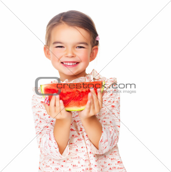 Adorable little child with a slice of watermelon on white